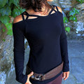 Women Charming Girls Stylish Sheathy Fit T-Shirt Off Shoulder Spaghetti Straps Casual Sexy Top Tee Black