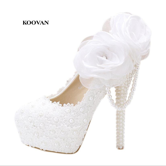 50f9540a94e Koovan Wedding Shoes 2017 fashion white pearl lace flowers high heel Women shoes  bridal shoes Women wedding shoes Women pumps