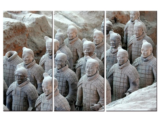Free shipping 3 Pieces Canvas Paintings Printed Terracotta Warriors ...