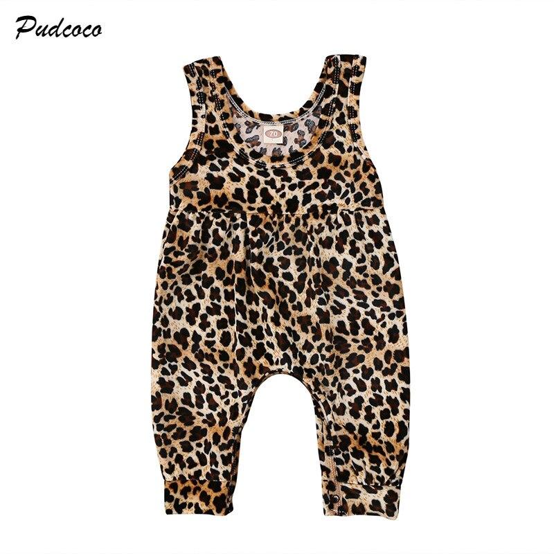 Leopard Newborn Baby Girl Summer Clothes Sleeveless Loose   Romper   Jumpsuit Harem Trouser Toddler Kids Fashion Sunsuit 0-24M