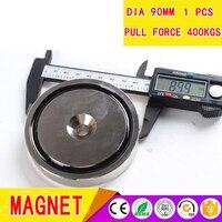 Супер мощный магнитный NdFeB постоянный монтажный магнит с одним отверстием диаметром 90 мм и 400 кг тяговая сила