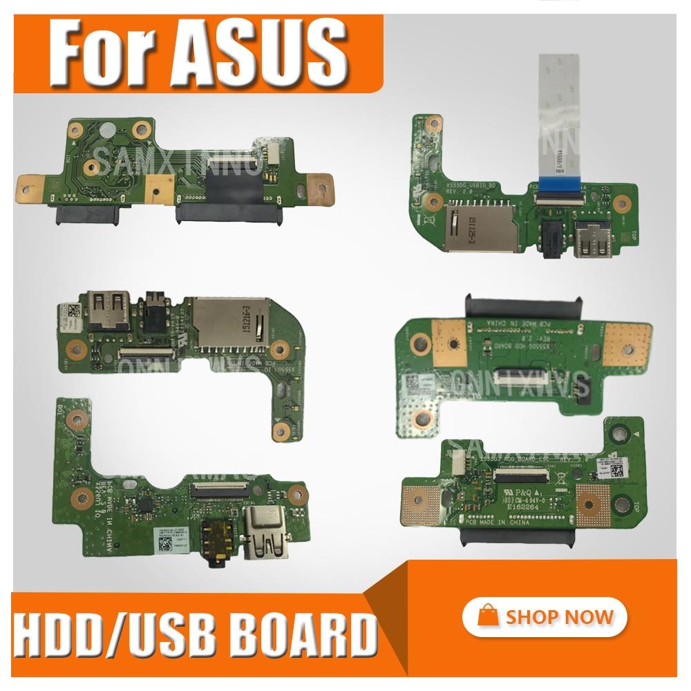 For ASUS X555DG X555D X555QG X555Q X555YI X556U X556UJ X556UV X555U X555UJ HDD BOARD Hard Disk Drive USB Board IO AUDIO CARD x556u usb board for asus x556u x556uj x556ujq x556ub x556ua x555uv laptop dedicated rev 2 0 usb io board tested well