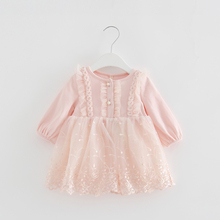 סתיו אופנה תינוקת שמלת תחרה פרח רקמה ארוך שרוול ילדי בגדי ילדים שמלת בנות שמלות 0 2T 2 צבע