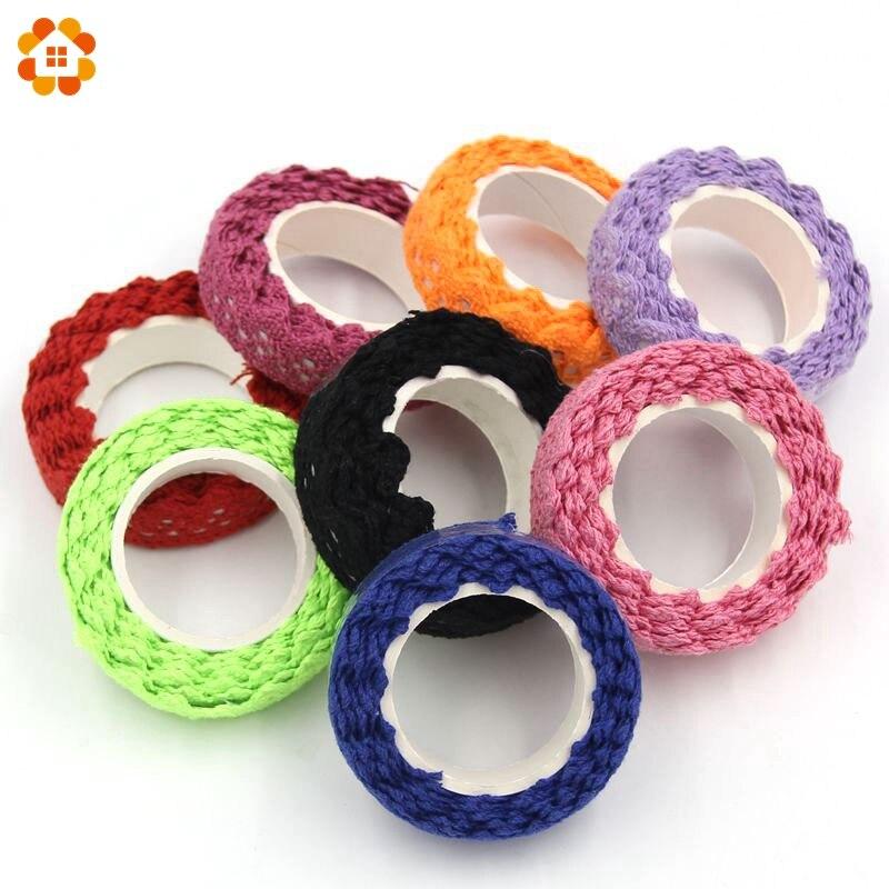 2Yard About 18MM DIY New Magic Cotton Lace Fabric Crochet Roll Ribbon Knit Adhesive Tape Sticker Craft Decoration