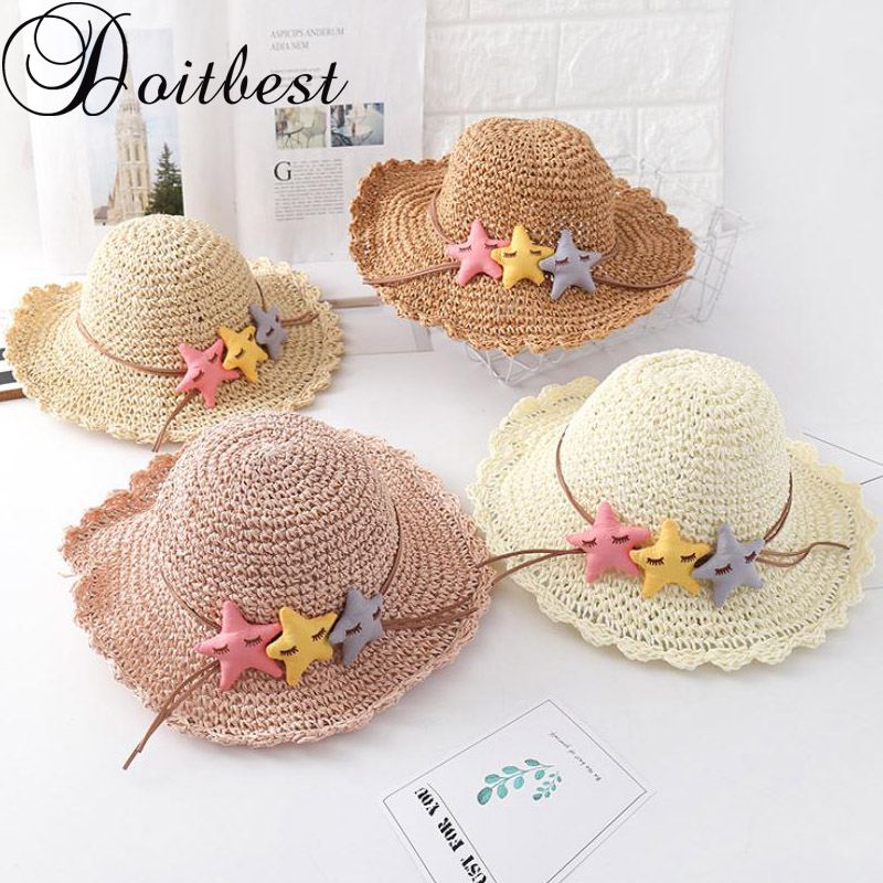 Glorious Doitbest Three Stars Boys Girls Straw Hats Summer Sun Hats For Child Children Travelling Holiday Beach Hats Kids Sunscreen Cap To Win Warm Praise From Customers