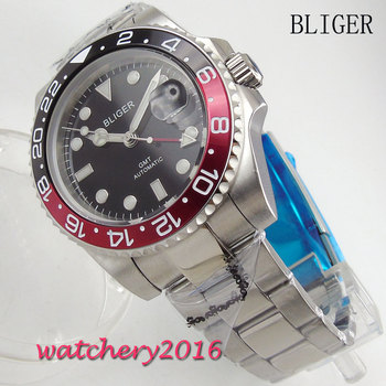 New 40mm Bliger black Dial Luminous Hands Stainless steel Luxury Brand Sapphire Crystal GMT Automatic Movement Men's Wristwatch