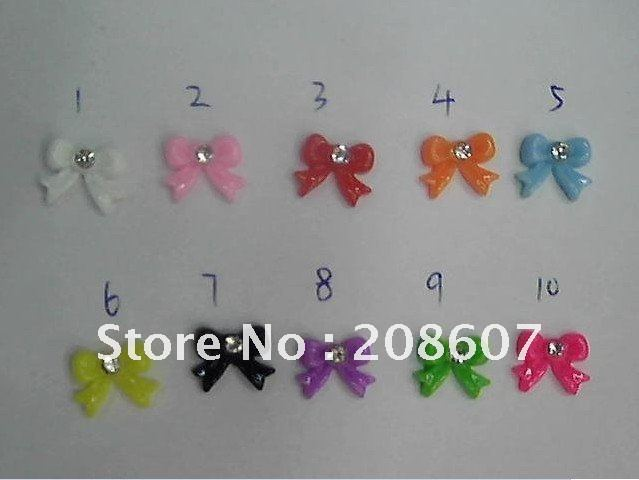 Nail Art Decoration DIY Design 3D Nail Sticker 10 Styles 100pcs/lot Resin Coulorful Batterfly/Flower With Diamond Freeshipping
