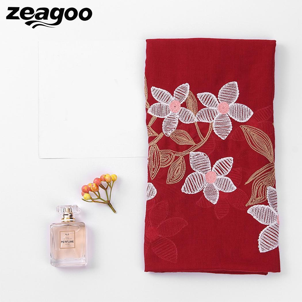 Zeagoo Blanket Scarf Wrap Shawl Embroidery Flower-Pattern Square Winter Women Autumn