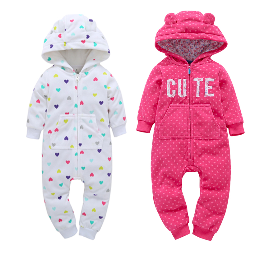 new born baby clothes long sleeve hooded ears jumpsuit overalls zipper Autumn winter costume Infant baby boy girl rompers santa