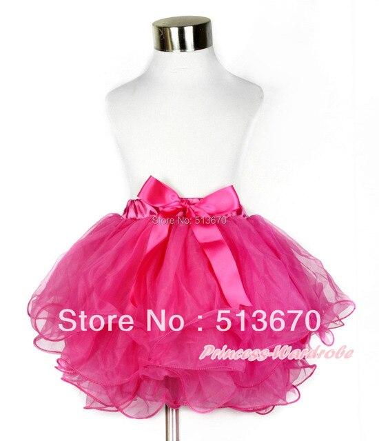 Ярко розовый лепесток полный юбка с ярко розовый с бантом MAB214