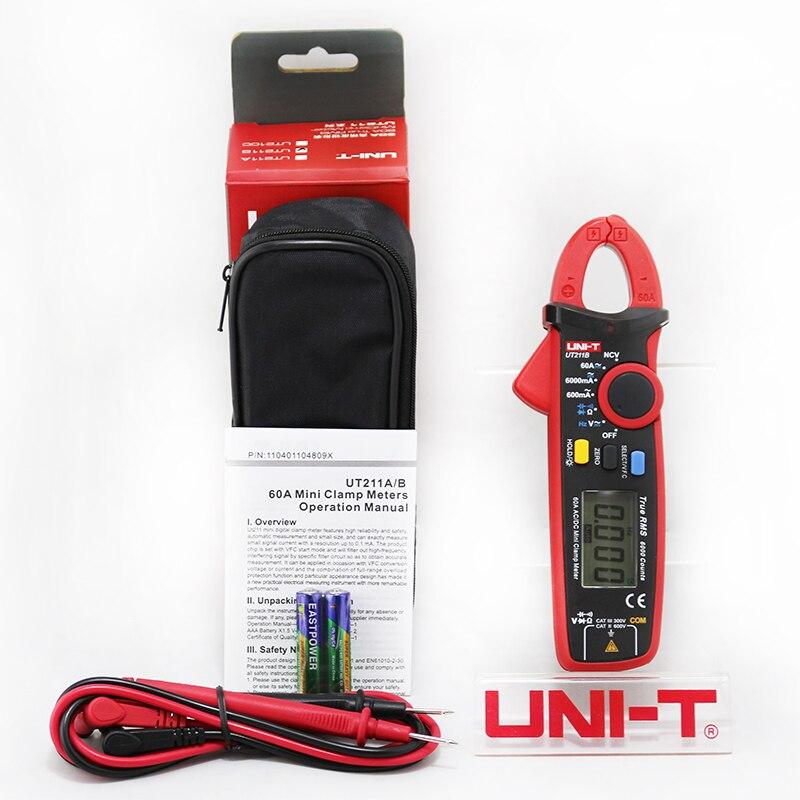 UNI T 60A True RMS Mini pinza medidor UT211A UT211B NCV/LCD amperímetro con retroiluminación VFC medición de frecuencia - 5