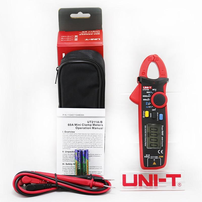 UNI T 60a verdadeiro rms mini medidor de braçadeira ut211a ut211b ncv/lcd backlight amperímetro vfc medição freqüência - 5