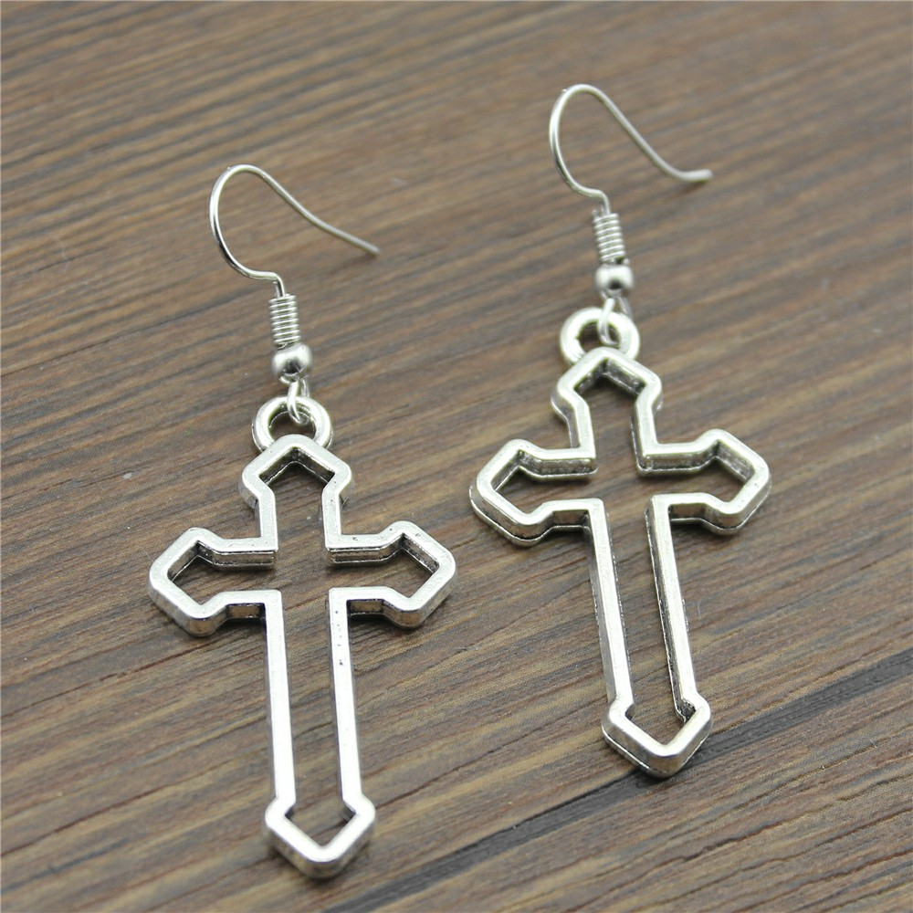 Fashion Handmade Simple Design 38x22mm Cross Charms Drop Earrings Jewelry Gift For Women
