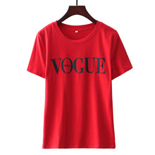 VOGUE Summer T Shirt Women 2019 Red Punk Tees Shirt Fashion Cotton White Black Tops Letter Print Casual Knitwear Short Sleeve(China)