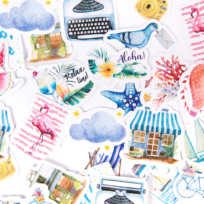 46 Sheets/Box Summer Style Travel Around Beach Decorative Stickers Scrapbooking DIY Diary Album Stick Label
