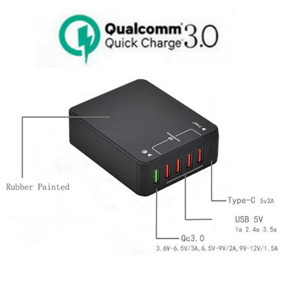 <font><b>Phone</b></font> Charger Quick Charger 3.0 USB Charger External Power with 1 type C port 4 Smart USB ports <font><b>for</b></font> <font><b>iPhone</b></font> Samsung Huawei <font><b>phones</b></font>