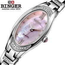 Binger Rhinestone Genuine Steel Strap Gold Business Watch Quartz Luxury Sport Watches Women Brand Wristwatch relogio masculino
