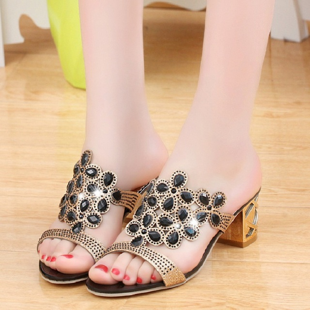 Sexy Women Sandals Summer Crystal Ladies High Heels Shoes Pumps Size 35-41 Black Blue Gold 5