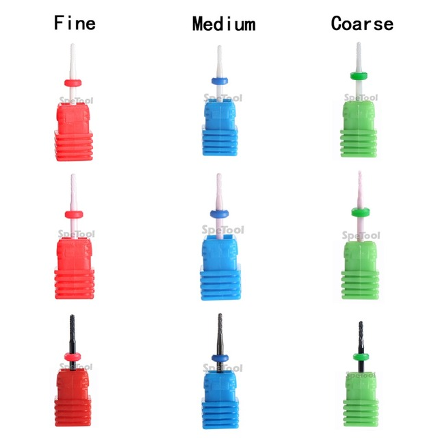 SpeTool Ceramic Nail Drill Bit 3 Color 3 Grit levels Accessory For ...