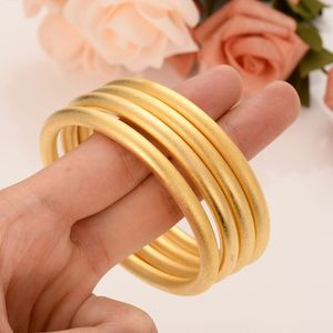 24 K Fine Gold GF Dubai Bracelet Africa Arab Items 4 Pieces Assemble Wholesale Fashion Dubai Abrasive blasting Bangle Jewelry