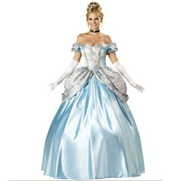Elegant Deluxe Princess Costume Sexy Off Shoulder Long Fancy Dress Costume Cinderella Role Playing Games Halloween Cosplay