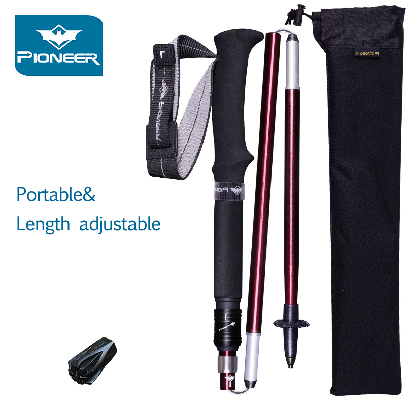 Trekking Poles 1 Pair Adjustable Hiking Walking Sticks Strong & Lightweight Aluminum 7075 Folding Portable Alpenstocks Red/BlueTrekking Poles 1 Pair Adjustable Hiking Walking Sticks Strong & Lightweight Aluminum 7075 Folding Portable Alpenstocks Red/Blue