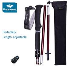 Trekking Poles 1 Pair Adjustable Hiking Walking Sticks Strong & Lightweight Aluminum 7075 Folding Portable Alpenstocks Red/Blue