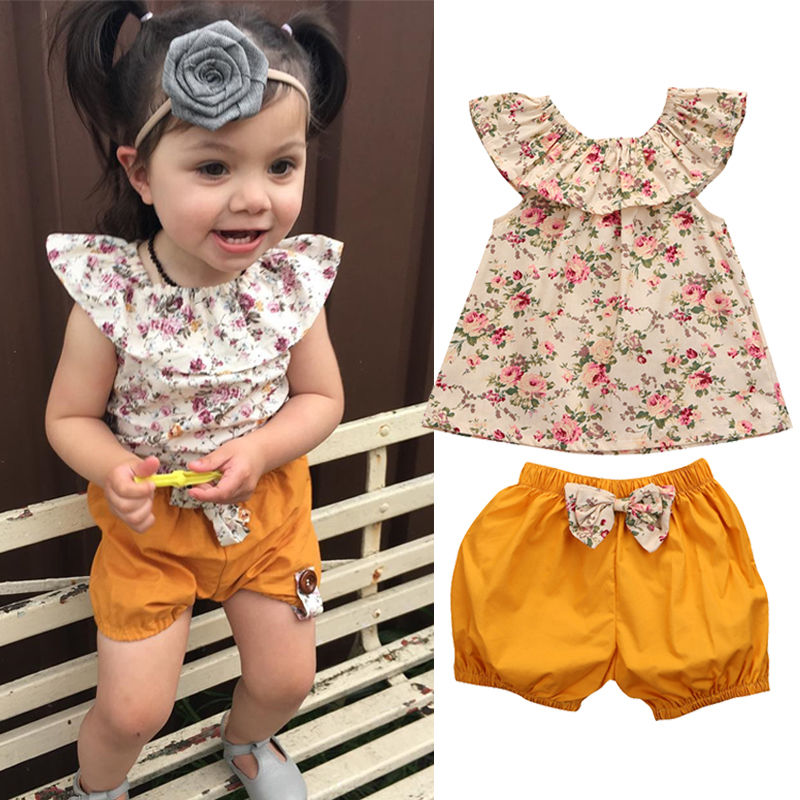 Cute 2PCS Toddler Kids Clothes Set 2017 Summer Floral Baby Girls Blusa Tops+ Bow Hot Pant Bottom Outfits Children Clothes 0-3Y cute baby girls clothes 2017 summer toddler kids denim tops leopard culotte skirt outfits children girl clothing set 3pcs set