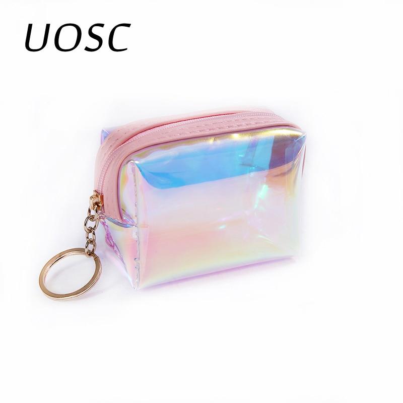 UOSC Trend Women Small Wallet Card Holder Zipper Coin Purses Clutch Handbag Fashion Female Purses Mini Cosmetics Storage Pouch