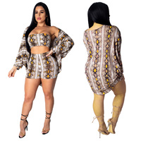 Snakeskin Print Women Outfits Long Sleeve Cardigan Coat Strapless Crop Top + Legging Shorts Suit Casual Matching Three Piece Set