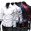 Cheap Shipping 2014 Spring men Fashion Casual slim fit long-sleeved tees men's dress shirts Leisure brand shirts 5colors 5sizes