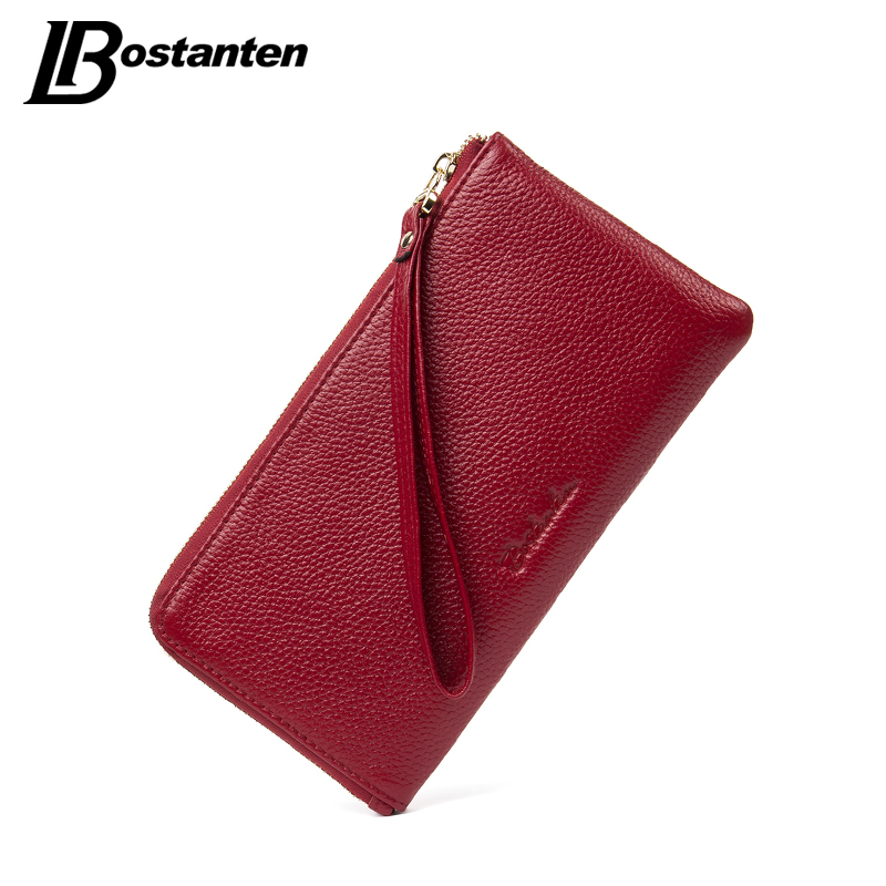 BOSTANTEN Genuine Leather Women Wallets Designer Long Fashion Lady Purse Card Holder Phone Coin Pocket Female Clutch Wristlet large capacity women wallet leather card coin holder money clip long clutch phone wristlet trifold zipper cash female purse