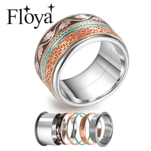 Cremo Boho Rings For Women Stainless Steel Vintage Spinner Stackable Ring Rose Gold Interchangeable Wedding Band Ringen Set(China)