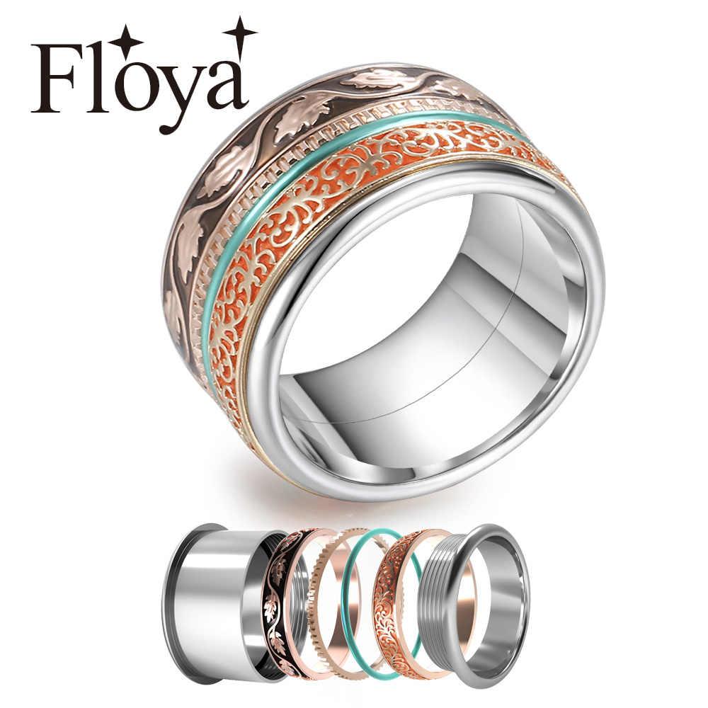 Cremo แหวนสแตนเลส Spinner Stackable แหวนดอกไม้ Vintage Ringen เปลี่ยนแหวนชุด