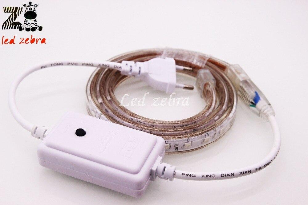 50 m/100 m ca 220 V 5050 SMD RGB Led bande, lumière Led Flexible avec prise 16 Modes de changement, 60Led/m étanche Ip67