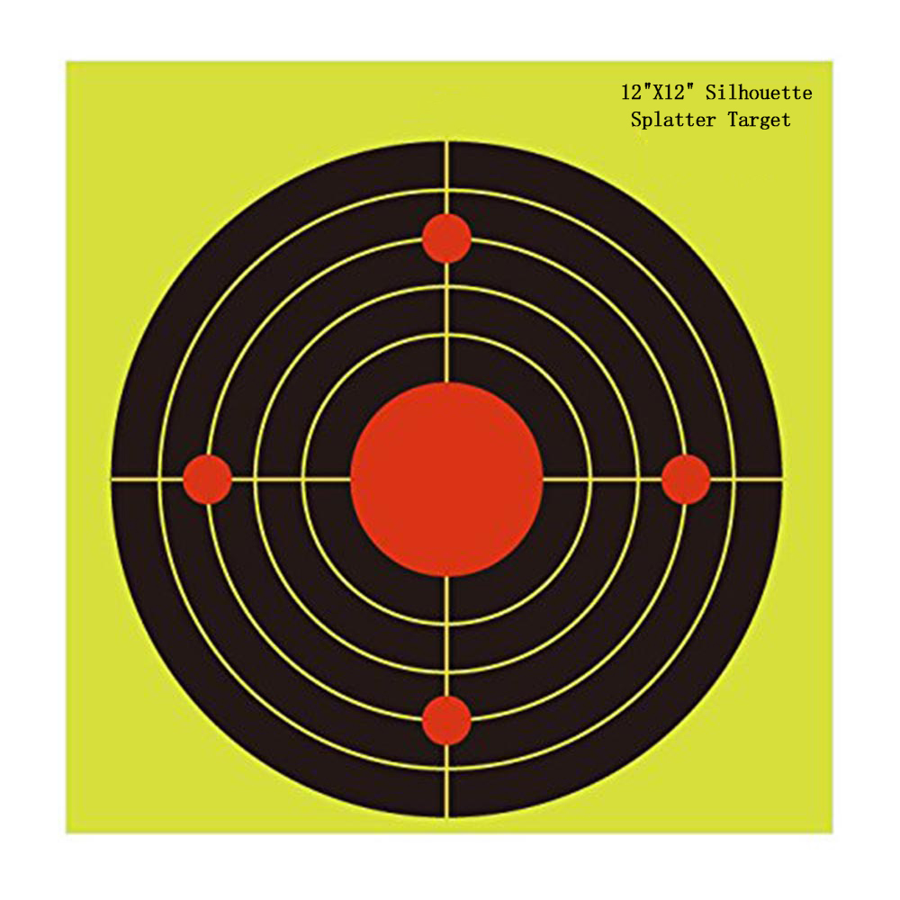 12*12Splatter Shooting Targets Instantly See Your Shots Burst Bright Fluorescent yellow Upon Impact great for all firearm