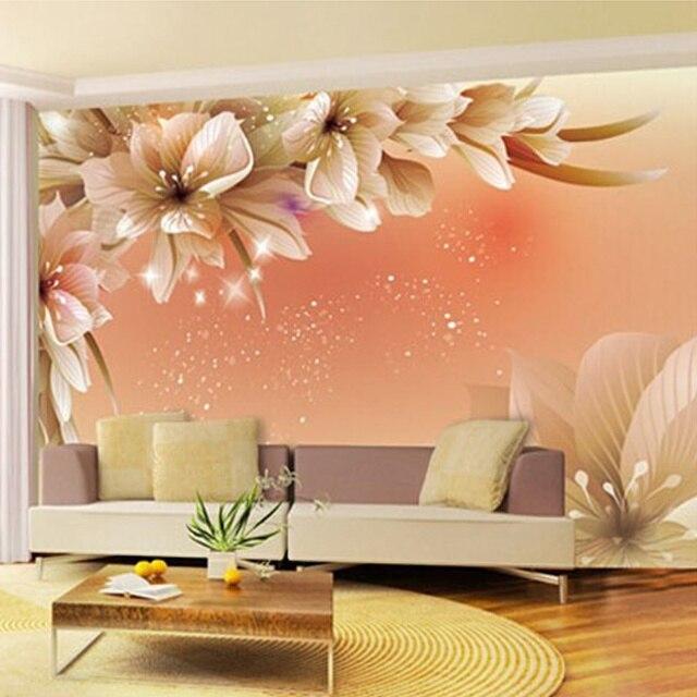 3d Design Bedroom Art Deco: Modern Simple Home Decor 3D Orange Flower Photo Mural