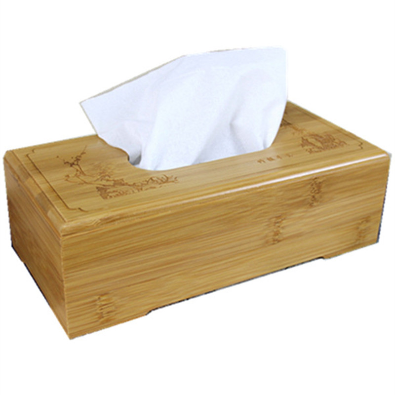 Buy rustic bamboo tissue box cover wood for Application box decoration