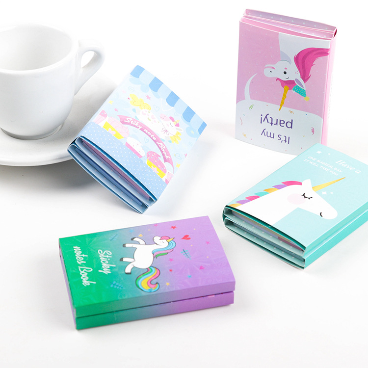 Unicorn Party 6 Folding Memo Pad N Times Sticky Notes Memo Notepad Bookmark Gift Stationery gift n home