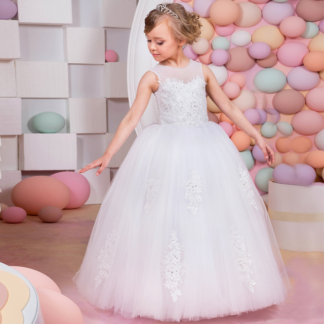aaec695a4f917 Lace Tulle Ball Gown Little Flower Girls Christmas Dress Kids Prom Long  White Little Bride Pageant