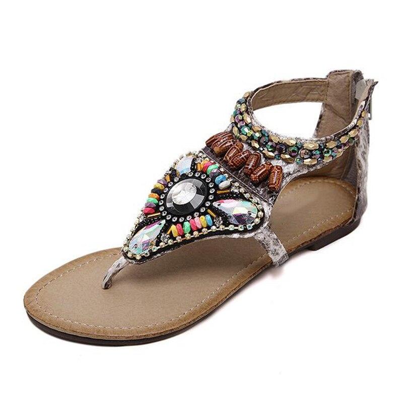 Sandalias 1 Zapatos Con Bohemia 2018 Niñas 2 Playa Sandalia Cuentas Pisos Casual K702 Mujeres Verano Moda v6AE6