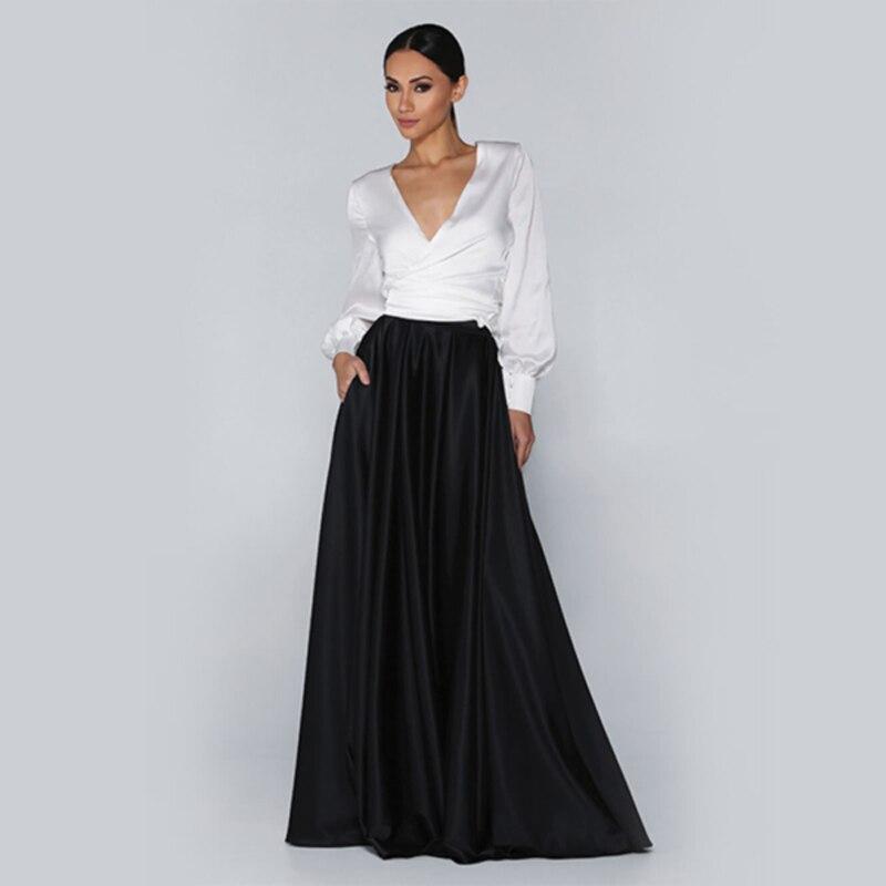 Jupes de Satin longues de rue élevée adaptées aux besoins du client pour des femmes à la jupe féminine formelle de tirette de partie avec des poches jupe faite sur commande de mode