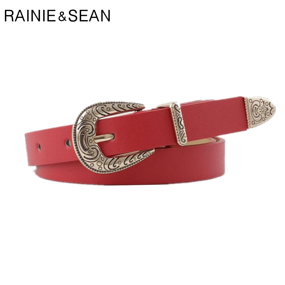 RAINIE SEAN Leather Belts For Women Red Pu Belt Vintage Engrave Brand Ladies Jeans
