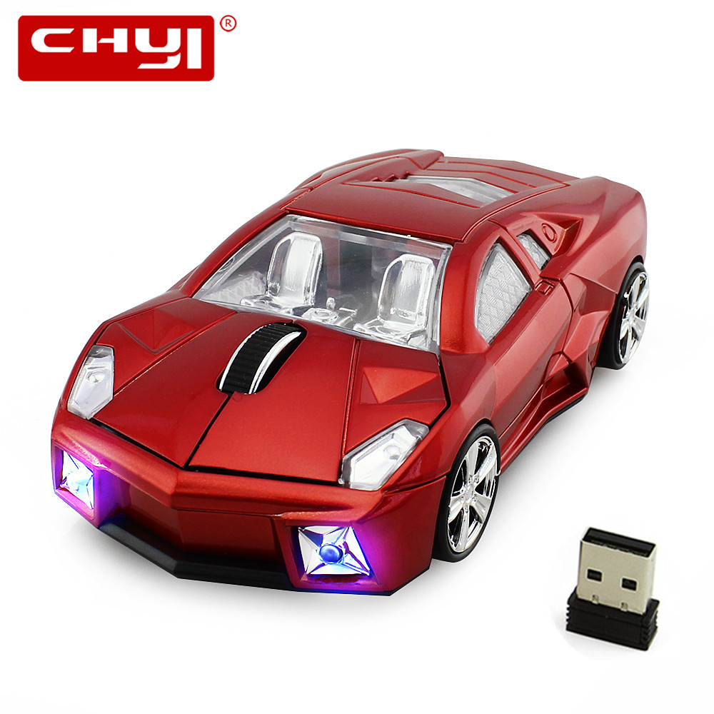 Wireless Mouse Super Racing Car Mouse USB 2.4Ghz Computer Mice Gaming Mouse with LED Flash Light for Laptop Desktop Mause Gamer