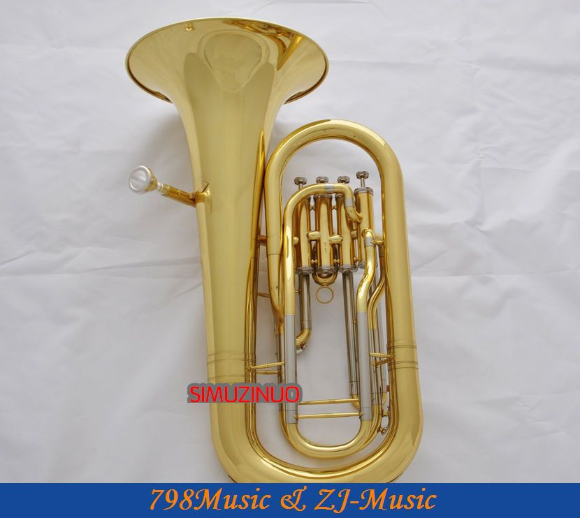 Профессиональный Золотой эуфониум 4 монельные клапаны Bb рога Мельхиор сторона с Чехол