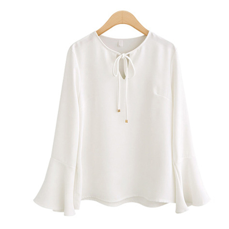 Europe and America Spring Crew Neck Long Sleeve Blouse Women's Solid Color Chiffon Flare Sleeve Slim Shirt Plus Size Tops