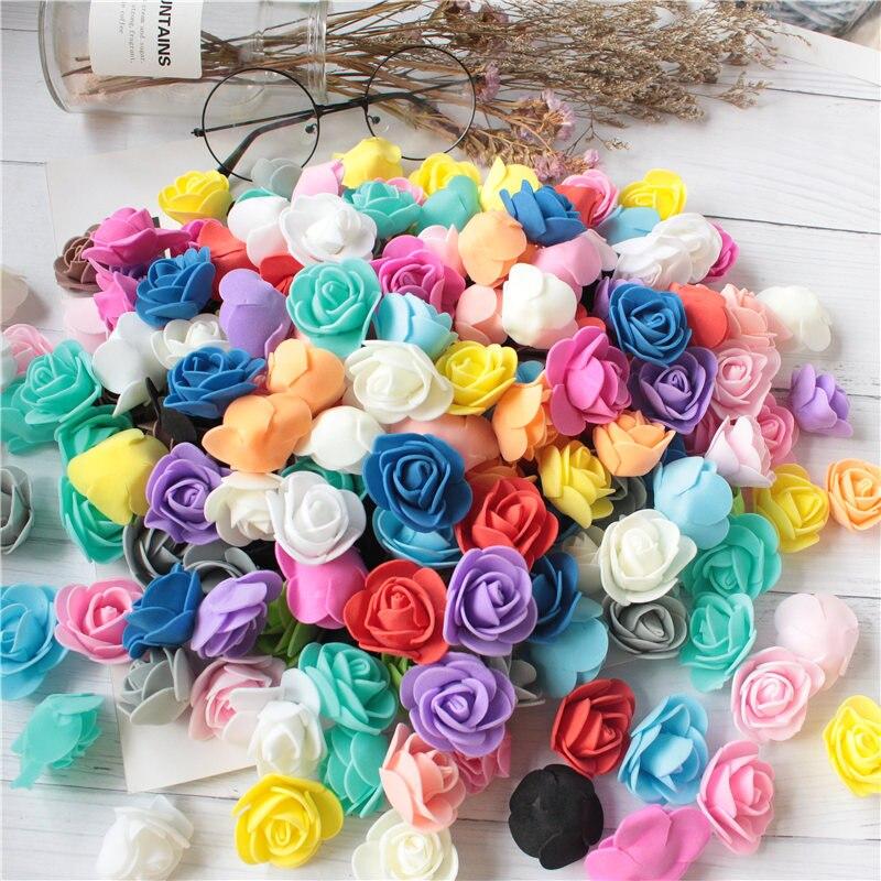 Mini Foam Rose Flower Bouquet DIY Craft Wedding Home Christmas Decorations