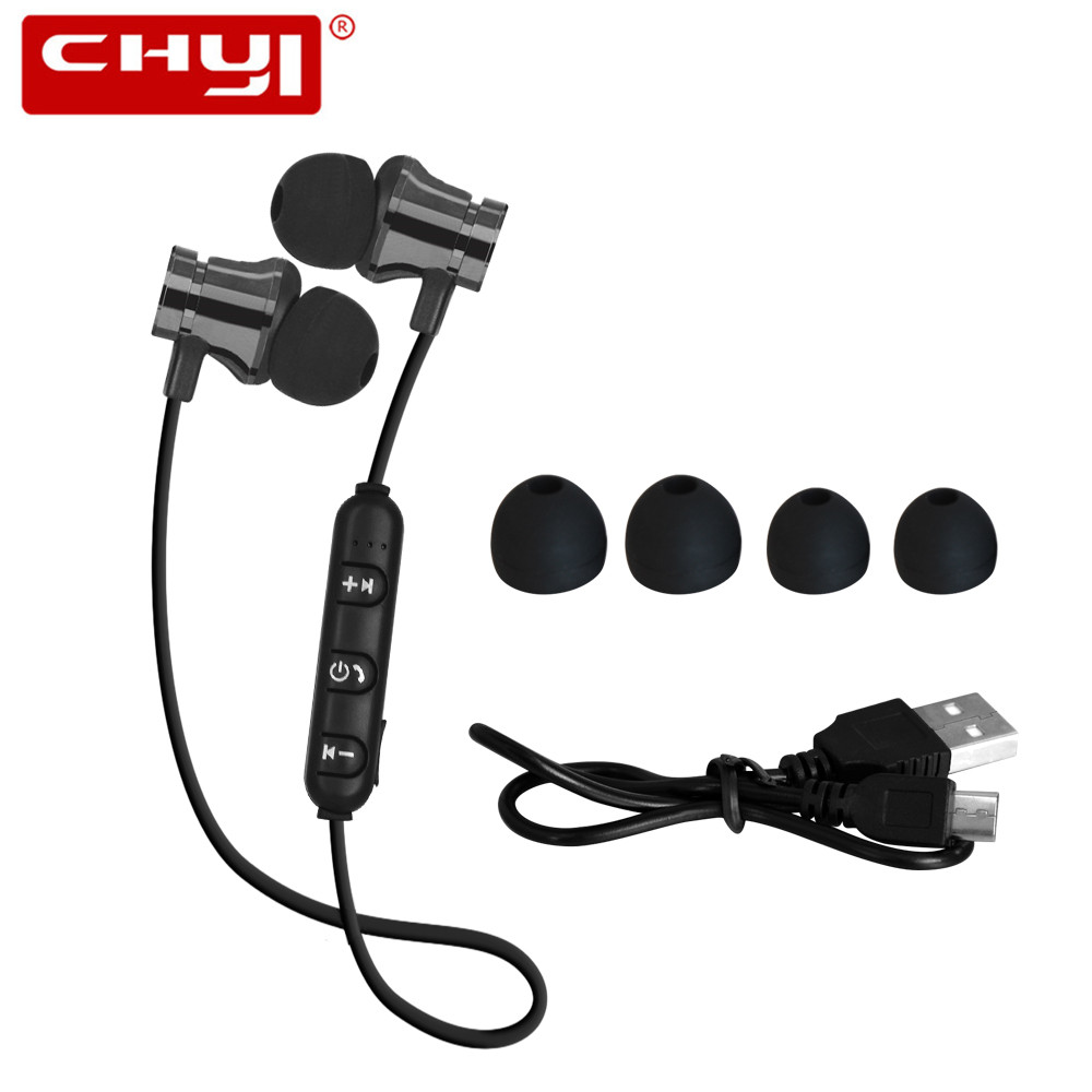 CHYI Magnetic Music Bluetooth Earphone XT11 Sport Running Wireless Bluetooth Headset with Mic For iPhone 8 X 7 Xiaomi Smartphone