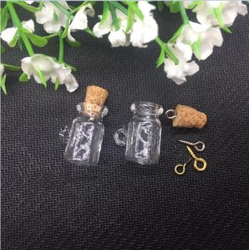 100pieces 20mm cup shape tiny Charm empty glass Bottle sample vial jars with cork eyehook Perfume essential oil jewelry findings фото
