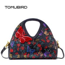 free delivery  Genuine Leather  women bag  Original embossing process 2016 new single shoulder Messenger bag Butterfly embossed